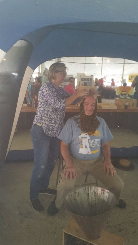Mike getting help with his bee beard.