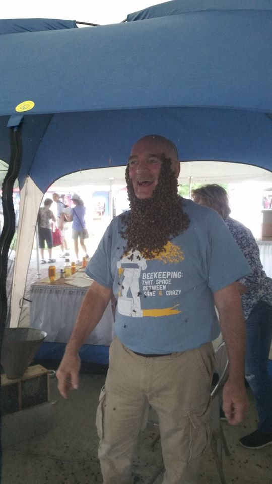 An epic bee beard on Mike!