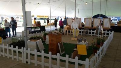Display of beekeeping equipment.