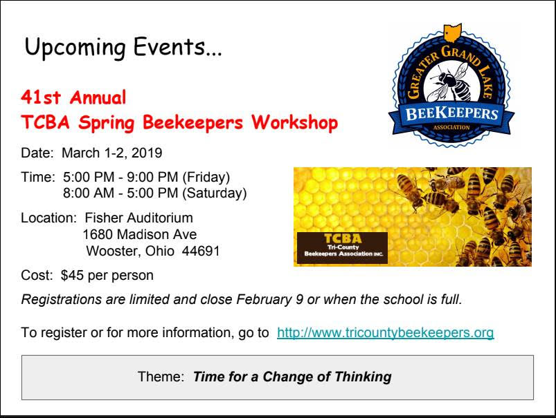 TCBA Spring Beekeepers Workshop March 1st-2nd, 2019