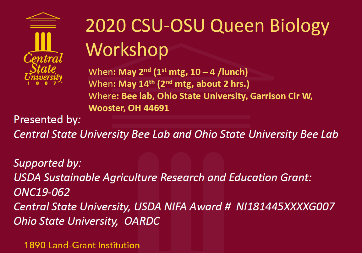 2020 CSU-OSU QUEEN BIOLOGY WORKSHOP WOOSTER OHIO