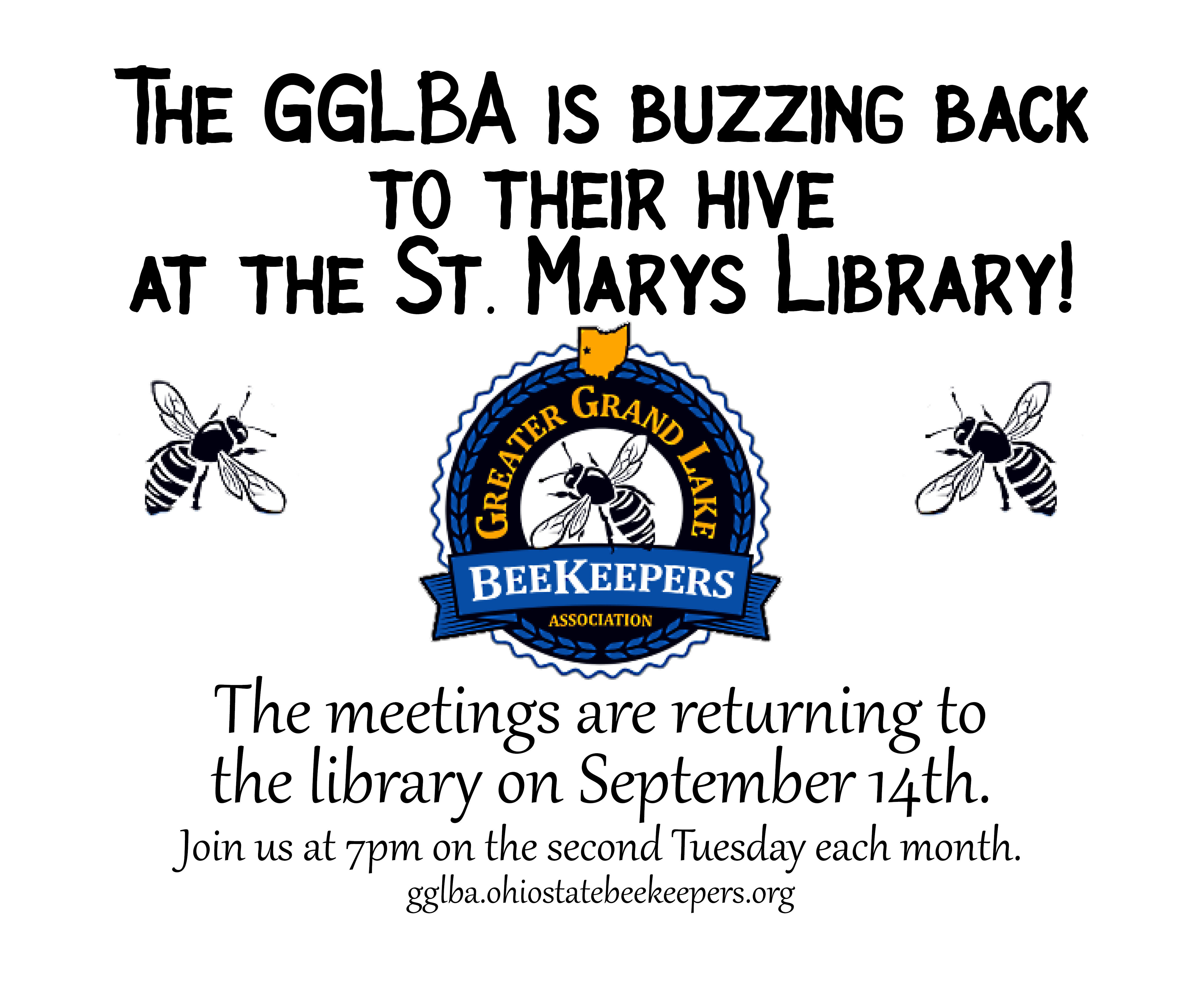GGLBA IS RETURNING TO THE ST. MARYS PUBLIC LIBRARY FOR THE MONTHLY MEETING SEPTEMBER 14TH 7PM-9PM